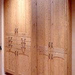 Wire brushed pine cabinetry