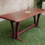 Dining table African Padauk with maple inlays